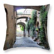 Orvieto Street With Arches Throw Pillow