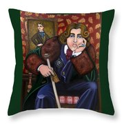 Oscar Wilde And The Picture Of Dorian Gray Throw Pillow by Victoria De Almeida