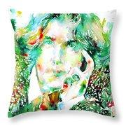 Oscar Wilde Watercolor Portrait.2 Throw Pillow by Fabrizio Cassetta
