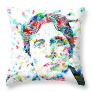 Oscar Wilde With Cigar - Watercolor Portrait Throw Pillow by Fabrizio Cassetta