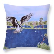 Osprey At Tuttle Marsh Throw Pillow