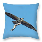 Osprey Bringing Big Fish Throw Pillow
