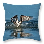 Osprey Getting Out Of The Water Throw Pillow
