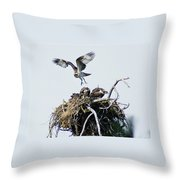 Osprey In Flight Over Nest Throw Pillow