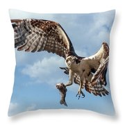 Osprey In The Clouds Throw Pillow