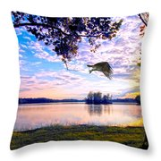 Osprey Leaving Perch Sundown Lake Throw Pillow