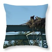 Osprey Nest With Mom And Chicks Throw Pillow