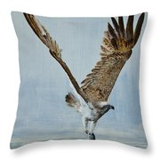 Osprey With Fish Throw Pillow