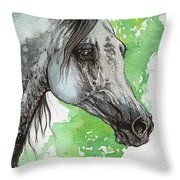 Ostragon Polish Arabian Horse Painting 1 Throw Pillow