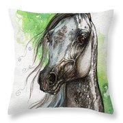 Ostragon Polish Arabian Horse Painting   Throw Pillow