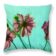 Otherworldly Cosmos Flowers In Pink And Green Throw Pillow