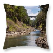 Ottauquechee River Flowing Through The Quechee Gorge Throw Pillow