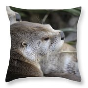 Otter And Family Throw Pillow