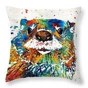 Otter Art - Ottertude - By Sharon Cummings Throw Pillow