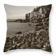 Otter Cliffs Black And White Throw Pillow