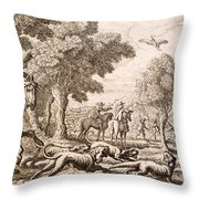 Otter Hunting By A River, Engraved Throw Pillow
