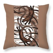 Otter With Eel, 2013 Woodcut Throw Pillow