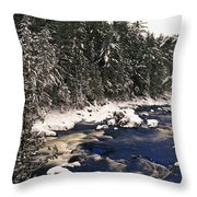 Ouareau River And Snow Covered Throw Pillow