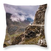 Our Bus Journey Through The Himalayas Throw Pillow