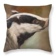 Our Friend The Badger Throw Pillow