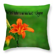 Our Heart Teaches Throw Pillow