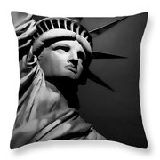 Our Lady Liberty In B/w Throw Pillow