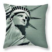Our Lady Liberty - Verdigris Tone Throw Pillow