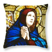 Our Lady Of Sorrows In Stained Glass Throw Pillow