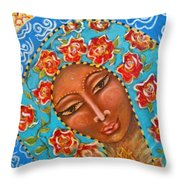 Our Lady Of The Roses Throw Pillow
