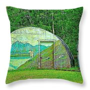 Our Lady Of The Way Quonset Hut Chapel In Haines Junction-yt Throw Pillow