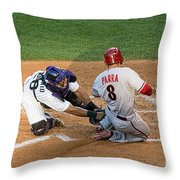 Out At The Plate Throw Pillow