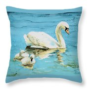 Out For A Morning Swim Throw Pillow