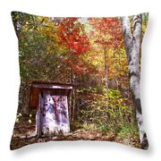 Out House In The Fall Throw Pillow