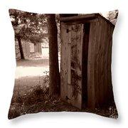 Out House Sepia Throw Pillow