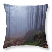 Out Of The Mist - Casper Mountain - Casper Wyoming Throw Pillow