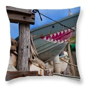 Out Of The Water - There's A Shark Throw Pillow