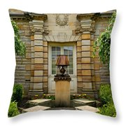 Outdoor Benches At Sewickely Pennsylvania Library Throw Pillow