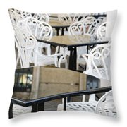 Outdoor Cafe Tables Throw Pillow by Oscar Gutierrez