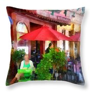 Outdoor Cafe With Red Umbrellas Throw Pillow