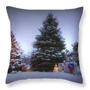 Outdoor Christmas Tree Throw Pillow