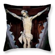 Outdoor Display Of The Crucifixion Of Christ Throw Pillow
