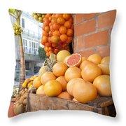 Outdoor Fruit Juice Stall  Throw Pillow