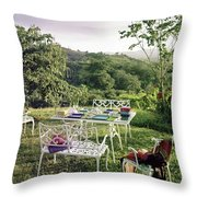 Outdoor Furniture By Lloyd On Grassy Hillside Throw Pillow