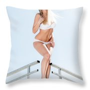 Outdoor Lingerie Portrait Throw Pillow