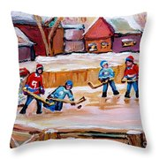 Outdoor Rink Hockey Game In The Village Hockey Art Canadian Landscape Scenes Carole Spandau Throw Pillow