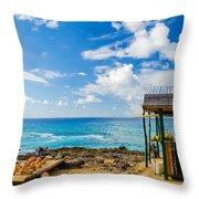 Outdoor Tropical Bar And Souvenirs Throw Pillow