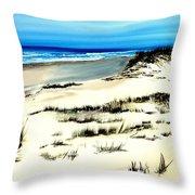 Outer Banks Sand Dunes Beach Ocean Throw Pillow