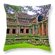 Outer Building Of Angkor Wat In Angkor Wat Archeological Park Near Siem Reap-cambodia  Throw Pillow