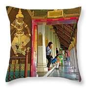 Outer Hall In Thai-khmer Pagoda At Grand Palace Of Thailand Throw Pillow