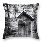 Outhouse In The Forest Black And White Throw Pillow